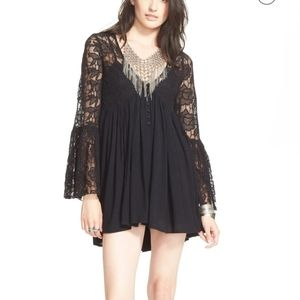 FREE PEOPLE BLACK LACE With Love' BabydollDress